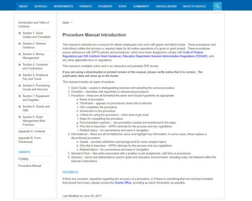 Home page from a web-based manual